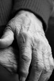 Old Hands. Elderly woman hands in black and white Stock Image