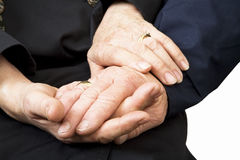 Old hands. Old couple holding hands royalty free stock images