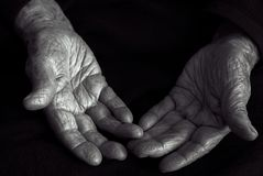Old hands in black and white. Picture of Old hands in black and white royalty free stock photography