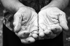 Old hands. Old female hands in black and white stock images