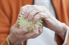 Old hands holding a spiky ball Stock Image