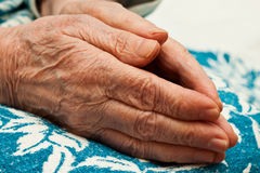 Old hands in prayer. Pair of hands in prayer, an old woman on her knees Royalty Free Stock Image