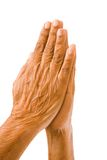 Old hands praying stock photos