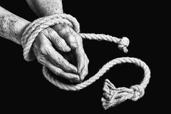 Old hands are tied Royalty Free Stock Photo