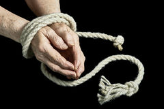 Old hands are tied Royalty Free Stock Image