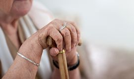 Old hands on walking stick Stock Image