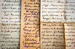 Old handwritten letters on old paper stock photography