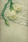 Old handwritten love letter with flowers Royalty Free Stock Photos