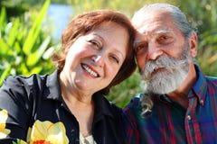 Old happy couple stock photos