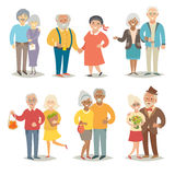 Old happy family. Pensioner happy family. Cartoon characters happy pensioner family. Flat style vector illustration  on white background Stock Photos