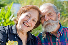 Old happy loving couple Stock Images