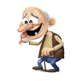 Old happy man wakling with stick. Old bold happy man with one teeth walking with stick Stock Images