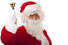 Old happy Santa Claus ringing Christmas bell Royalty Free Stock Images