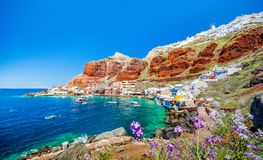 The old harbor of Ammoudi under the famous village of Ia at Santorini stock photography