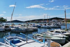 The old harbor of Betina in Croatia Stock Photos