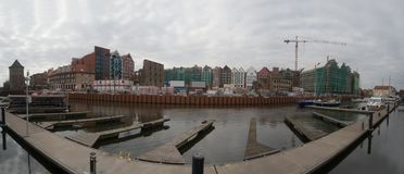 Construction site near old harbor canal on Old Town, Gdansk, Poland stock images