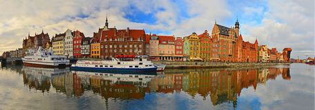 Old Gdansk Harbor With Ships Mooring Royalty Free Stock Photos