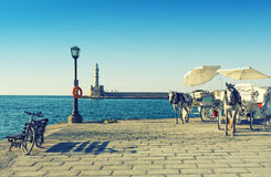 Old harbor in Chania town on Crete island, Greece Stock Images