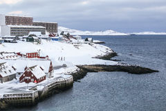 Old harbor covered in snow, Nuuk. Old harbor view, Nuuk city, Greenland Royalty Free Stock Image