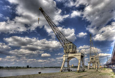 Old Harbor Cranes Antwerp Royalty Free Stock Image