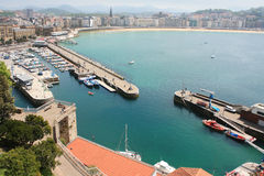 Old harbor of Donostia , May 5, 2013 in San Sebastian, Spain. Royalty Free Stock Images
