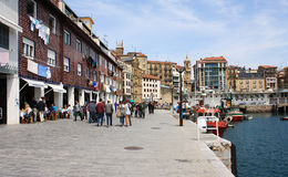 Old harbor of Donostia , May 5, 2013 in San Sebastian, Spain. Harbor is part of an old fishing village Stock Images