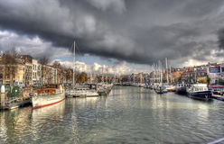 Old harbor at Dordrecht, Holland Stock Image
