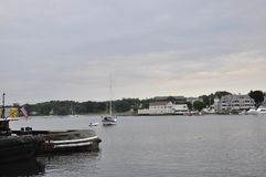 Portsmouth 30th June: Old Harbor from Downtown of Portsmouth in New Hampshire of USA royalty free stock photography