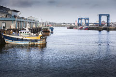 Old harbor. At the end of a hard day. Mooring Royalty Free Stock Images