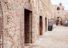 Old harbor in Essaouira, Morocco. Architectural details of old harbor in Essaouira, Morocco Stock Photos