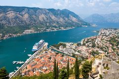Old harbor and gulf of Kotor Stock Photo