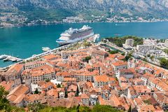 Old harbor and gulf of Kotor Stock Photography
