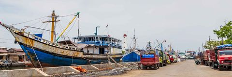 Maritime in Semarang Indonesia. Old harbor with lighthouse in Semarang Indonesia Stock Image