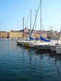 Old harbor - Marseille - France. Yachts in the Vieux Port and Notre Dame de la Garde, Marseille (France royalty free stock photo
