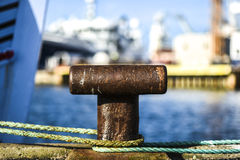 Old  harbor mooring in the background of the summer marina on a Royalty Free Stock Photos