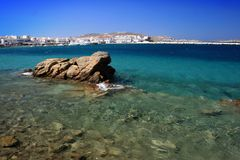 Old harbor of Mykonos, Greece stock images