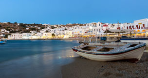 The old harbor of Mykonos, Greece, after sunset Stock Images