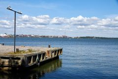 Old harbor near the city stock image