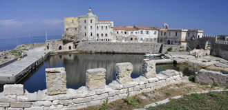 Old harbor in Pianosa island, Tuscany Royalty Free Stock Images