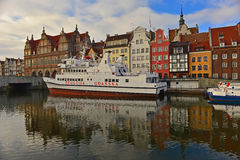 Gdansk Harbor With Ships. Old harbour on the Motlawa river in Gdansk in Northern Poland. Renaissance houses in the background Royalty Free Stock Images