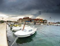 Old harbor and stone houses in Croatia Stock Photo
