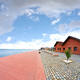 The old harbor of Thessaloniki, Greece. Captured with fisheye lens Stock Photo