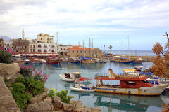 Old harbour. Old buildings and boats in the harbour at Kyrenia, Cyprus Royalty Free Stock Photography