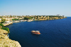 Old harbour in Antalya, Turkey. Panoramic view to old harbour in Antalya, Turkey Royalty Free Stock Image