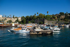 Old harbour in Antalya in Turkey Stock Photos
