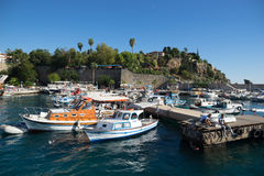 Old harbour in Antalya in Turkey Stock Images