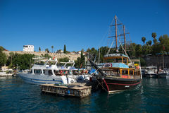 Old harbour in Antalya in Turkey Royalty Free Stock Image