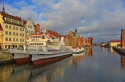Old harbour canal in Gdansk. Stock Photo