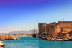 Old harbour and castle in Kyrenia, Cyprus. Royalty Free Stock Photography