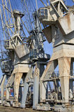 Old harbour cranes in Hamburg Stock Photography